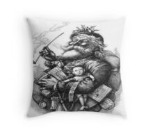 Merry Old Santa Claus Season's Greetings Throw Pillow