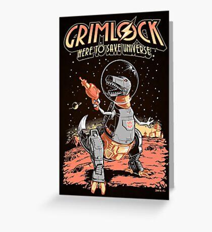 Space Pulp Robot Dinosaur Hero (Print Version) Greeting Card