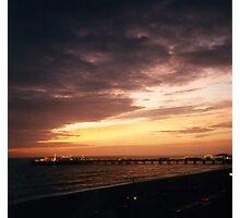Sunset Over Brighton Pier At Night Photographic Print