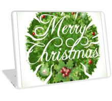 Holly Leaves Circle and Merry Christmas Calligraphic Text Laptop Skin