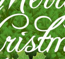 Holly Leaves Circle and Merry Christmas Calligraphic Text Sticker