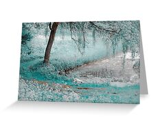 Pond Under the Shadow Willow. Nature in Alien Skin Greeting Card
