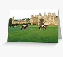napoleons soldiers riding in front of Burghley House Greeting Card