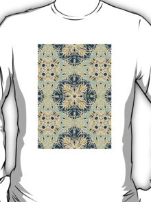 Protea Pattern in Deep Teal, Cream, Sage Green & Yellow Ochre T-Shirt