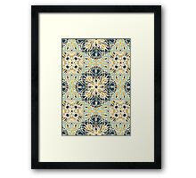 Protea Pattern in Deep Teal, Cream, Sage Green & Yellow Ochre Framed Print