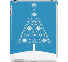 Christmas Tree Made Of Snowflakes On Cerulean Background iPad Case/Skin