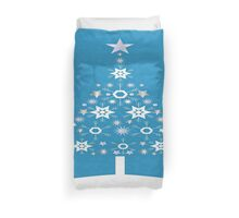 Christmas Tree Made Of Snowflakes On Cerulean Background Duvet Cover