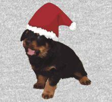Cute Merry Christmas Puppy In Santa Hat Kids Tee