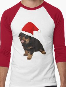 Cute Merry Christmas Puppy In Santa Hat Men's Baseball ¾ T-Shirt
