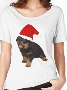 Cute Merry Christmas Puppy In Santa Hat Women's Relaxed Fit T-Shirt