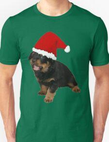 Cute Merry Christmas Puppy In Santa Hat Unisex T-Shirt