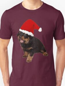 Cute Merry Christmas Puppy In Santa Hat Unisex T-Shirt