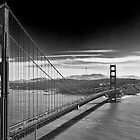 Golden Gate Bridge - Dark Sky (black and white) by Barry L White