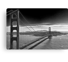 Golden Gate Bridge - Dark Sky (black and white) Canvas Print