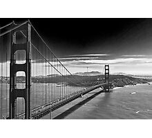 Golden Gate Bridge - Dark Sky (black and white) Photographic Print