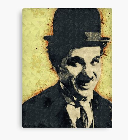 Illustrated Charlie Chaplin Print Canvas Print