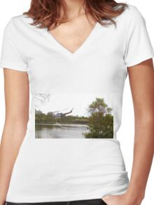 Bushfire Helicopter at Glenbrook Lagoon Women's Fitted V-Neck T-Shirt