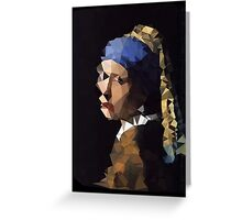 Low-Poly Girl with The Pearl Earring Greeting Card