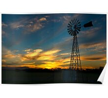 Sunset near Geranium, South Australia Poster