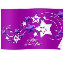 Fucshia and Purple Happy New Year Shooting Stars Poster