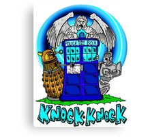 Doctor Who Knock Knock on the Tardis Canvas Print
