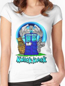 Doctor Who Knock Knock on the Tardis Women's Fitted Scoop T-Shirt