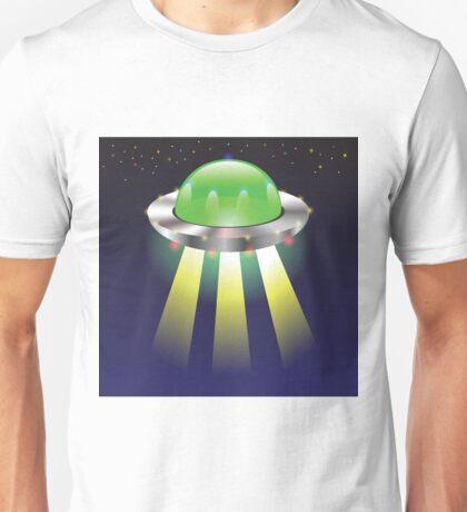 Spaceship Fly on Sky Unisex T-Shirt
