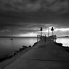 Wharf at Salamander Bay in monochrome by Sheila  Smart