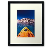kayak over coral - Nth Qld Framed Print