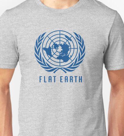 Flat Earth Map (Classic Blue UN Map Azimuthal Logo) Unisex T-Shirt