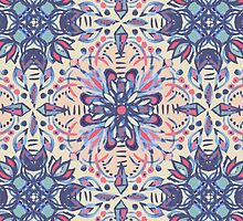 Protea Pattern in Blue, Cream & Coral by micklyn