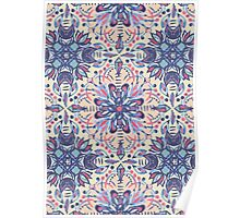 Protea Pattern in Blue, Cream & Coral Poster