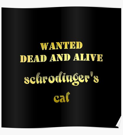 "Gold lettering with the message ""Wanted – Dead AND Alive – Schrodinger's Cat"". Poster"