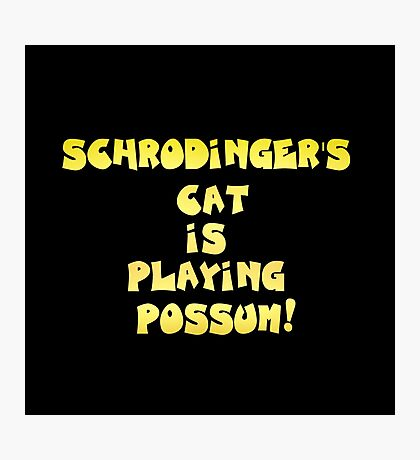 """Gold lettering with the message """"Schrodinger's Cat Is Playing Possum"""". Photographic Print"""