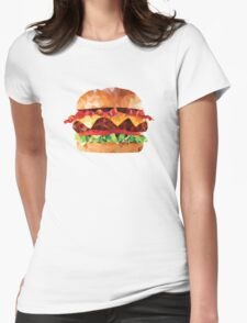 Geometric Bacon Cheeseburger Womens Fitted T-Shirt
