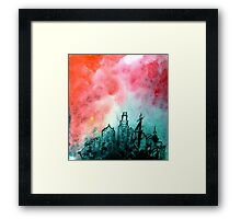 The City Rose Up urban industrial ink painting red black white Framed Print