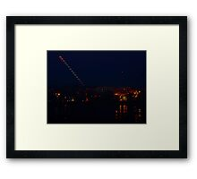 Multiple exposure of setting eclipsing moon over St Charles, MO Framed Print