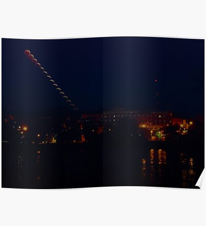 Multiple exposure of setting eclipsing moon over St Charles, MO Poster