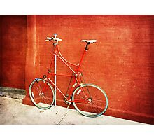 Tall Bike on Red Photographic Print