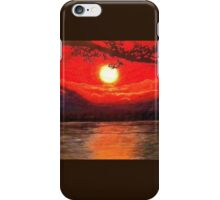 Atmospheric Sunset Ocean with Tree Silhouette iPhone Case/Skin