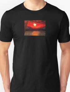 Atmospheric Sunset Ocean with Tree Silhouette Unisex T-Shirt
