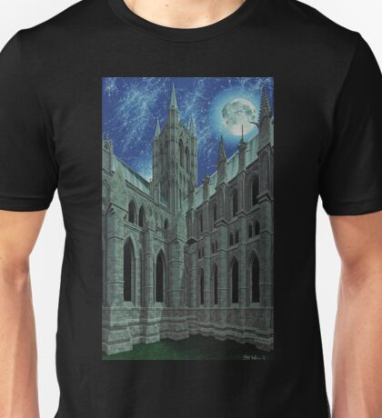 The Cathedral Church of the Blessed Virgin Mary of Lincoln with Moon and Stars Unisex T-Shirt