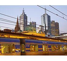 Melbourne Train at Dusk Photographic Print