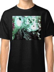 Cellular Abstract Painting Green Black Classic T-Shirt