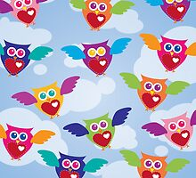 A Flock of Colorful Owls by Jeri Stunkard