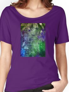 Frozen abstract crystal ice painting blue green purple white Women's Relaxed Fit T-Shirt