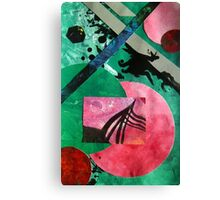 Uncharted abstract space landscape green red black Canvas Print