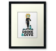 Drink and Dive - Scuba Diver - Blonde Short Hair Framed Print