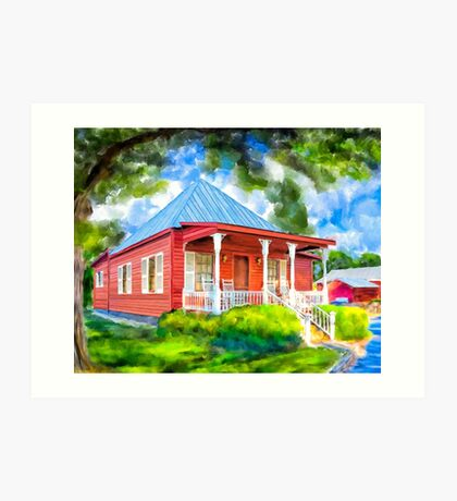Cozy Red Cottage In A Southern Landscape - Georgia Art Print