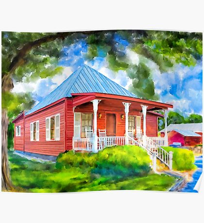 Cozy Red Cottage In A Southern Landscape - Georgia Poster
